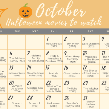 halloween movie calendar