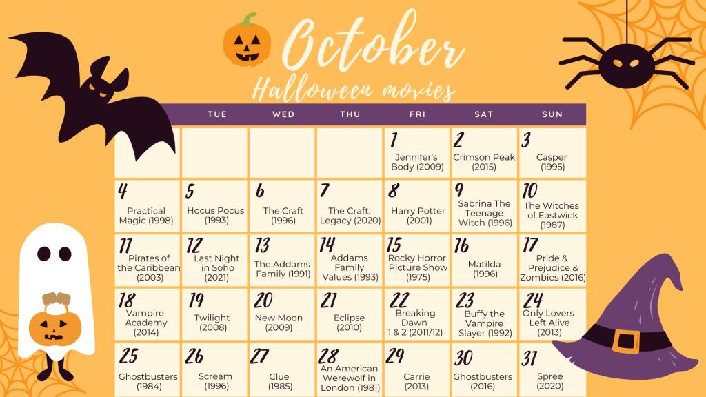 halloween movie calendar